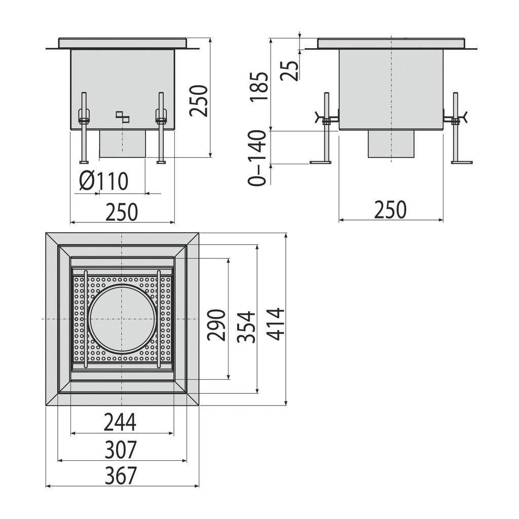 AlcaPlast APR2-1150 - Priemyselná vpusť nerez AISI 304