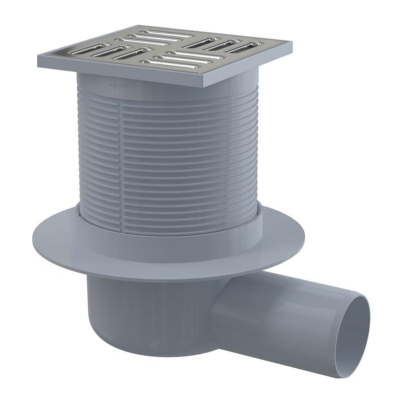 AlcaPlast APV1 - Podlahová vpusť 105×105/50 mm bočná, mriežka nerez, vodná zápachová uzávera