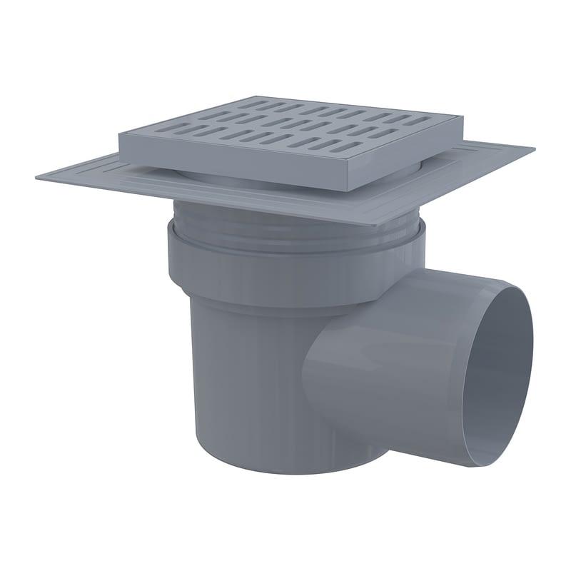 AlcaPlast APV10 - Podlahová vpusť 150×150/110 mm bočná, mriežka šedá, límec 2. úrovne izolácie, vodná zápachová uzávera