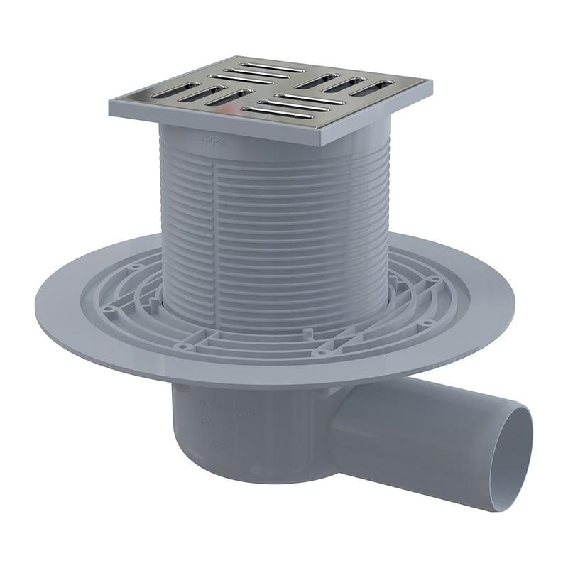 AlcaPlast APV101 - Podlahová vpusť 105×105/50 mm bočná, mriežka nerez, vodná zápachová uzávera