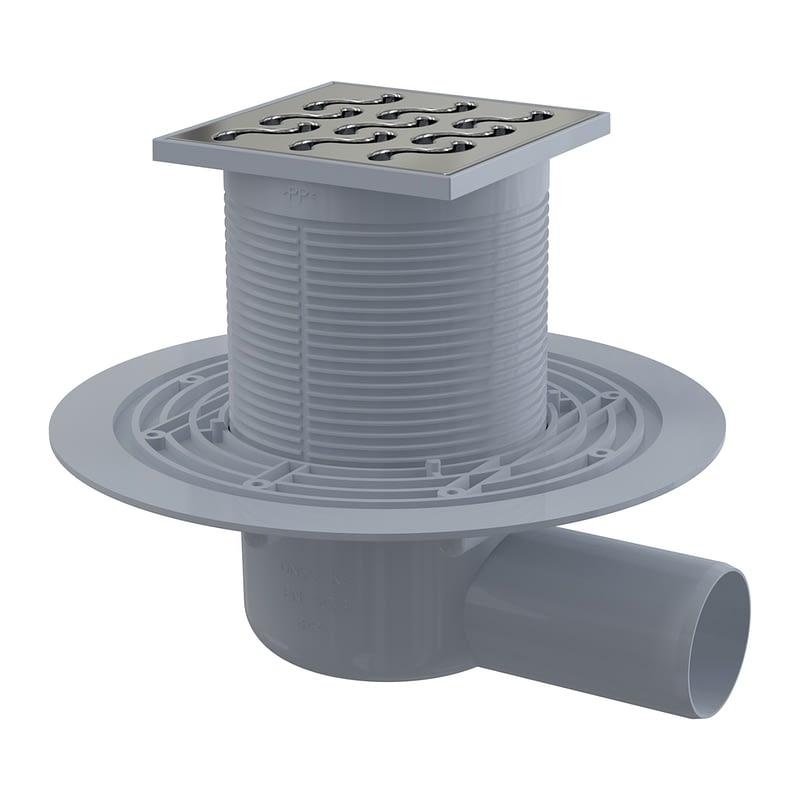 AlcaPlast APV102 - Podlahová vpusť 105×105/50 mm bočná, mriežka nerez, vodná zápachová uzávera