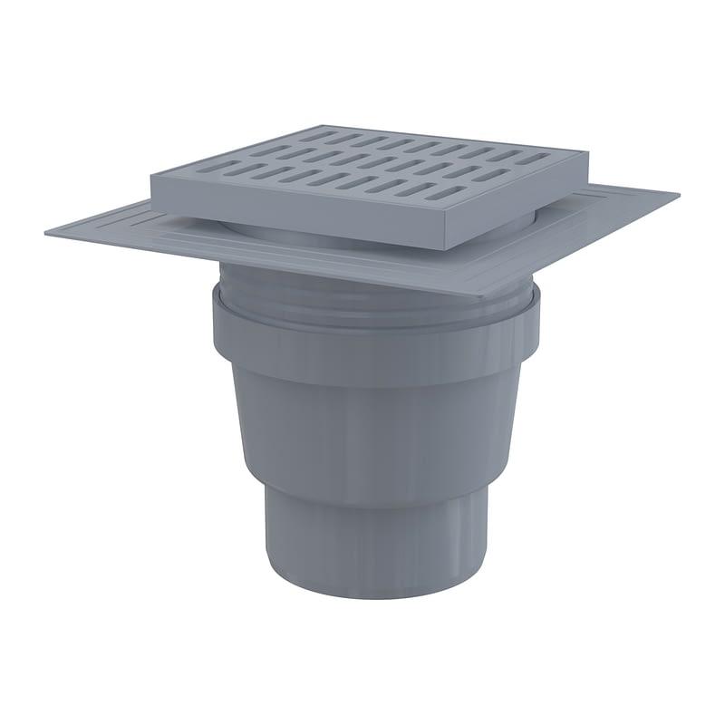 AlcaPlast APV11 - Podlahová vpusť 150×150/110 mm priama, mriežka šedá, límec 2. úrovne izolácie, vodná zápachová uzávera