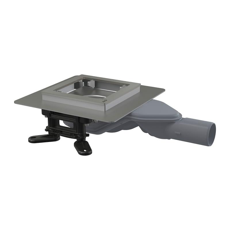 AlcaPlast APV110 - Podlahová vpusť nerezová extra-nízka 130×130 mm bočná, bez mriežky, vodná zápachová uzávera