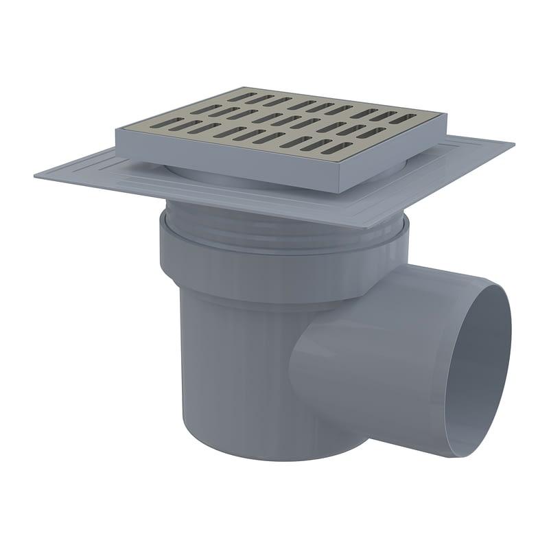 AlcaPlast APV12 - Podlahová vpusť 150×150/110 mm bočná, mriežka nerez, límec 2. úrovne izolácie, vodná zápachová uzávera