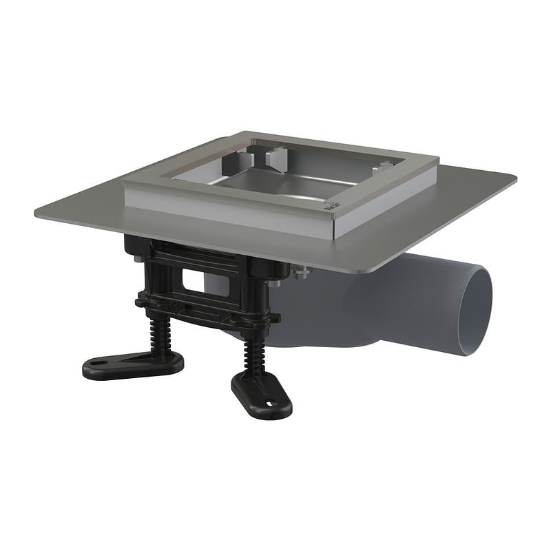 AlcaPlast APV120 - Podlahová vpusť nerezová nízka 130×130 mm bočná, bez mriežky, vodná zápachová uzávera