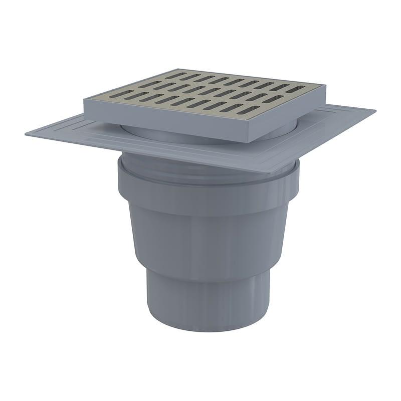 AlcaPlast APV13 - Podlahová vpusť 150×150/110 mm priama, mriežka nerez, límec 2. úrovne izolácie, vodná zápachová uzávera