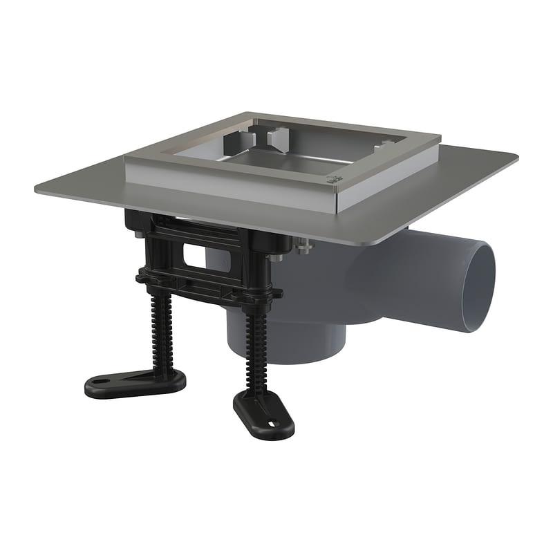 AlcaPlast APV130 - Podlahová vpusť nerezová 130×130 mm bočná, bez mriežky, vodná zápachová uzávera