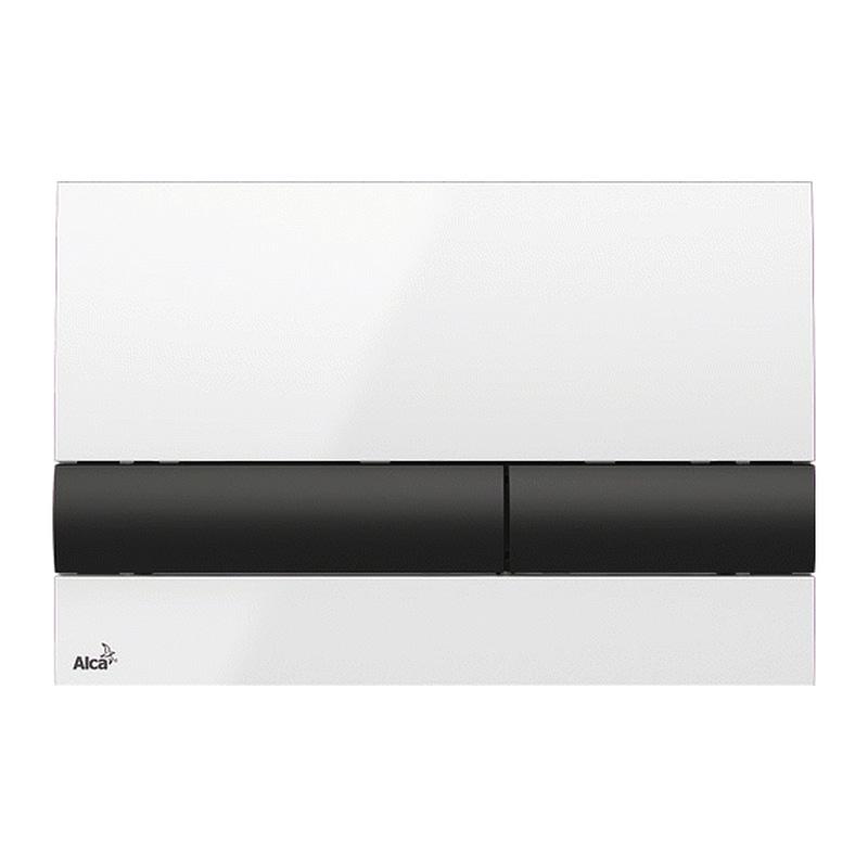 AlcaPlast M1710-8 - Ovládacie tlačítko pre predstenové inštalačné systémy, biela-lesk/čierna-lesk
